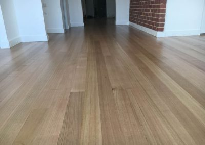 The floor finished with 3 coats of Loba Water Base Coating in Marino