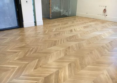 Chevron Parquetry Flooring installed & coated in Walkerville