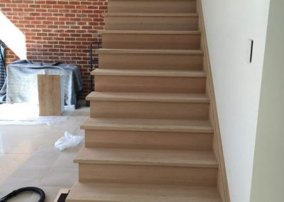 Floor sanding and application of Baltic pine and black stain to a staircase in a Norwood client's home - Before