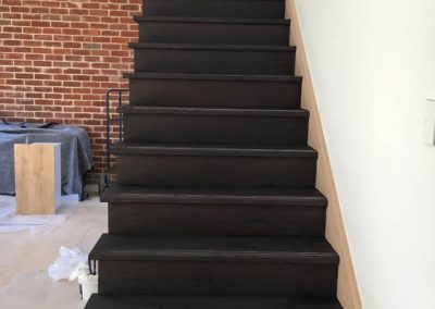 Floor sanding and application of Baltic pine and black stain to a staircase in a Norwood client's home - After