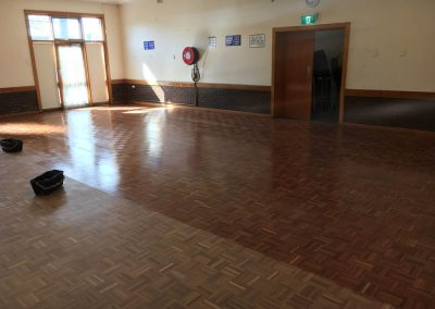 A hall floor being sanded and polished in West Croydon