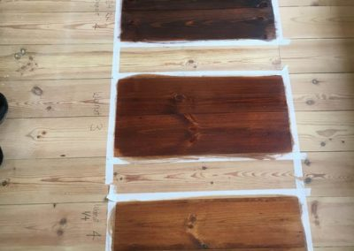 Clients can choose from a range of stain samples for their floor